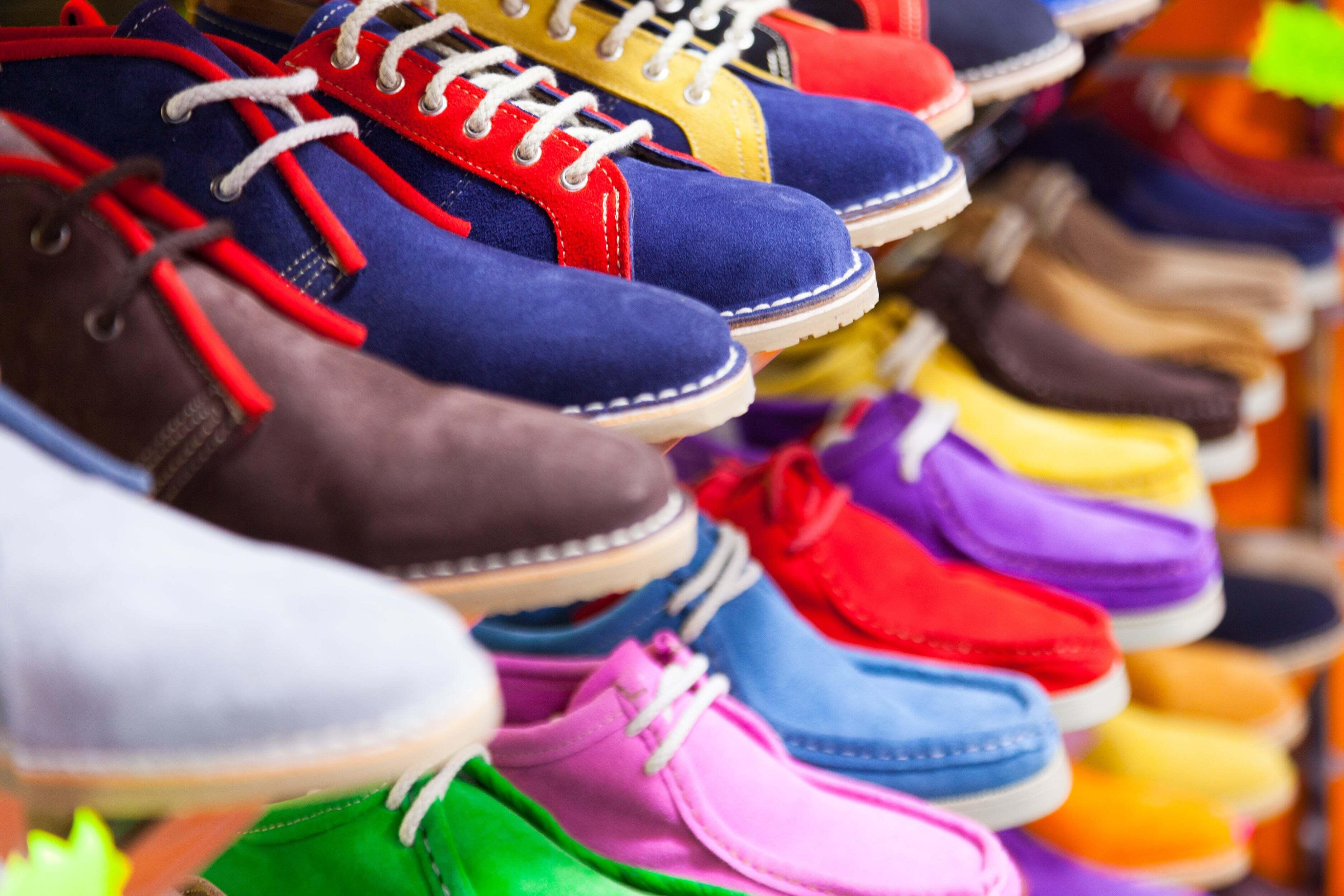Colorful shoes lined up next to each other