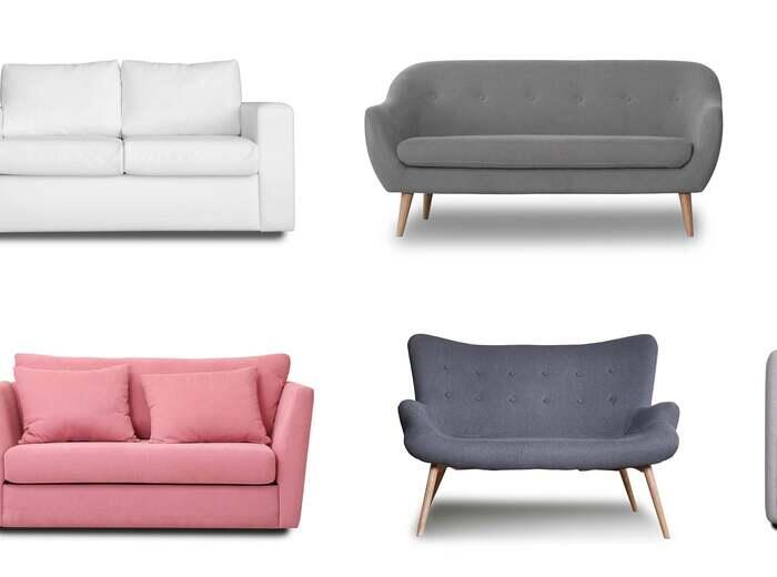 Eight different styles of couches on a white background