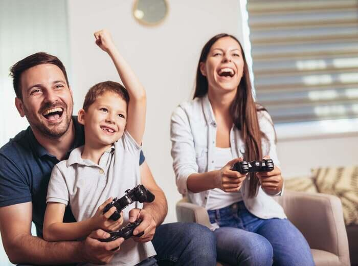 A family playing video games together